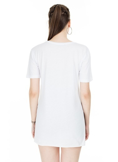 Lela Lela V Yaka Kadın T Shirt 5411062H Beyaz